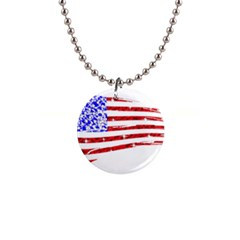 Sparkling American Flag Mini Button Necklace