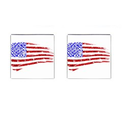 Sparkling American Flag Square Cuff Links