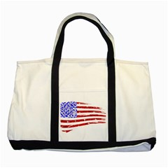 Sparkling American Flag Two Toned Tote Bag