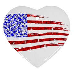 Sparkling American Flag Heart Ornament (Two Sides)