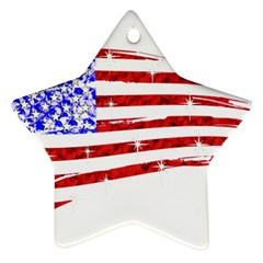 Sparkling American Flag Twin-sided Ceramic Ornament (Star)