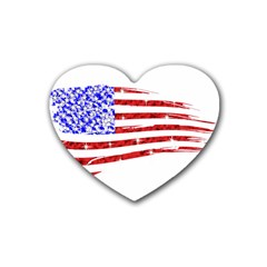 Sparkling American Flag Rubber Drinks Coaster (Heart)