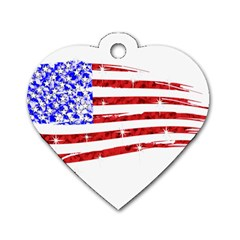 Sparkling American Flag Twin-sided Dog Tag (Heart)