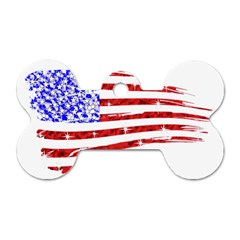 Sparkling American Flag Twin-sided Dog Tag (Bone)