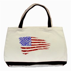 Sparkling American Flag Twin-sided Black Tote Bag