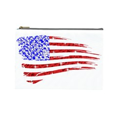 Sparkling American Flag Large Makeup Purse