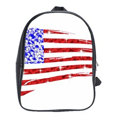 Sparkling American Flag Large School Backpack