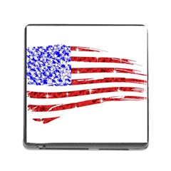 Sparkling American Flag Card Reader with Storage (Square)
