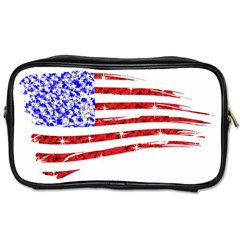 Sparkling American Flag Twin-sided Personal Care Bag