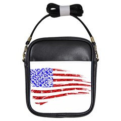 Sparkling American Flag Kids  Sling Bag