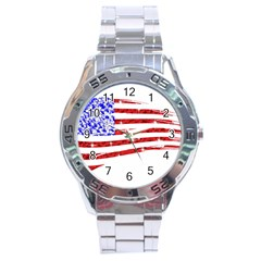 Sparkling American Flag Stainless Steel Analogue Watch (round)
