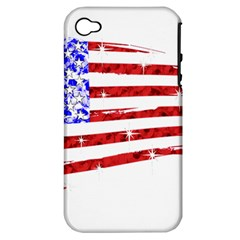 Sparkling American Flag Apple iPhone 4/4S Hardshell Case (PC+Silicone)