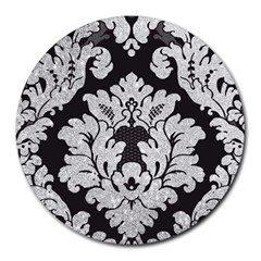 Diamond Bling Glitter on Damask Black 8  Mouse Pad (Round)
