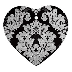 Diamond Bling Glitter On Damask Black Ceramic Ornament (heart)