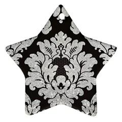 Diamond Bling Glitter on Damask Black Ceramic Ornament (Star)