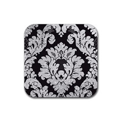 Diamond Bling Glitter on Damask Black 4 Pack Rubber Drinks Coaster (Square)