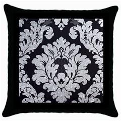Diamond Bling Glitter On Damask Black Black Throw Pillow Case