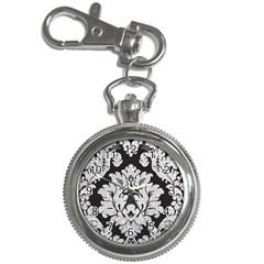 Diamond Bling Glitter on Damask Black Key Chain & Watch
