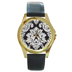 Diamond Bling Glitter on Damask Black Black Leather Gold Rim Watch (Round)