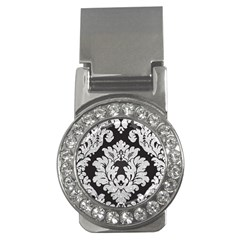 Diamond Bling Glitter On Damask Black Money Clip With Gemstones (round)