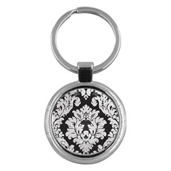 Diamond Bling Glitter On Damask Black Key Chain (round)