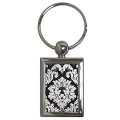 Diamond Bling Glitter On Damask Black Key Chain (rectangle)