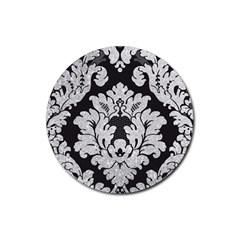 Diamond Bling Glitter on Damask Black 4 Pack Rubber Drinks Coaster (Round)