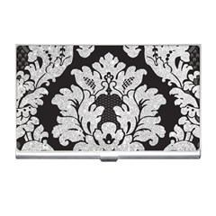 Diamond Bling Glitter On Damask Black Business Card Holder
