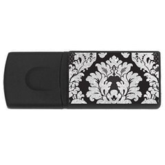 Diamond Bling Glitter on Damask Black 2Gb USB Flash Drive (Rectangle)