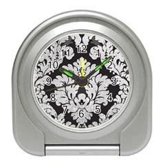 Diamond Bling Glitter on Damask Black Desk Alarm Clock