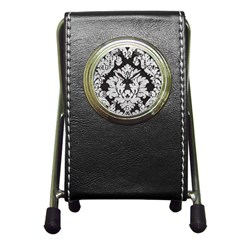 Diamond Bling Glitter on Damask Black Stationery Holder Clock