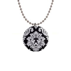 Diamond Bling Glitter On Damask Black Mini Button Necklace