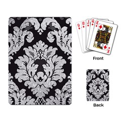 Diamond Bling Glitter on Damask Black Standard Playing Cards