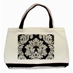 Diamond Bling Glitter on Damask Black Black Tote Bag