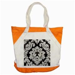 Diamond Bling Glitter on Damask Black Snap Tote Bag
