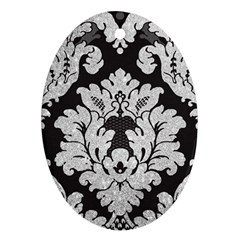 Diamond Bling Glitter on Damask Black Oval Ornament (Two Sides)