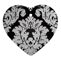 Diamond Bling Glitter on Damask Black Heart Ornament (Two Sides)