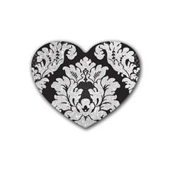 Diamond Bling Glitter on Damask Black Rubber Drinks Coaster (Heart)