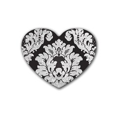 Diamond Bling Glitter on Damask Black 4 Pack Rubber Drinks Coaster (Heart)
