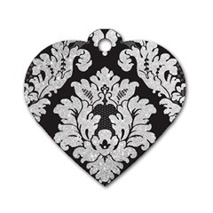 Diamond Bling Glitter On Damask Black Twin Sided Dog Tag (heart)