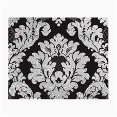 Diamond Bling Glitter on Damask Black Twin-sided Glasses Cleaning Cloth
