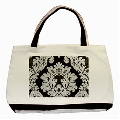 Diamond Bling Glitter on Damask Black Twin-sided Black Tote Bag