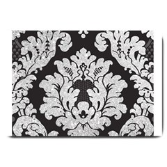 Diamond Bling Glitter on Damask Black Large Door Mat