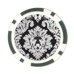 Diamond Bling Glitter on Damask Black Poker Chip