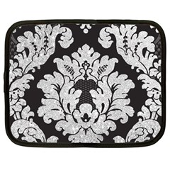 Diamond Bling Glitter On Damask Black 12  Netbook Case