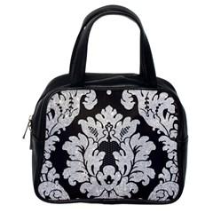 Diamond Bling Glitter on Damask Black Single-sided Satchel Handbag