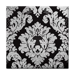 Diamond Bling Glitter on Damask Black Face Towel