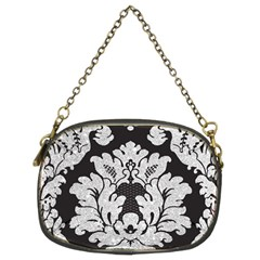 Diamond Bling Glitter on Damask Black Twin-sided Evening Purse
