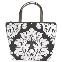 Diamond Bling Glitter on Damask Black Bucket Handbag
