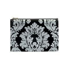 Diamond Bling Glitter on Damask Black Medium Makeup Purse